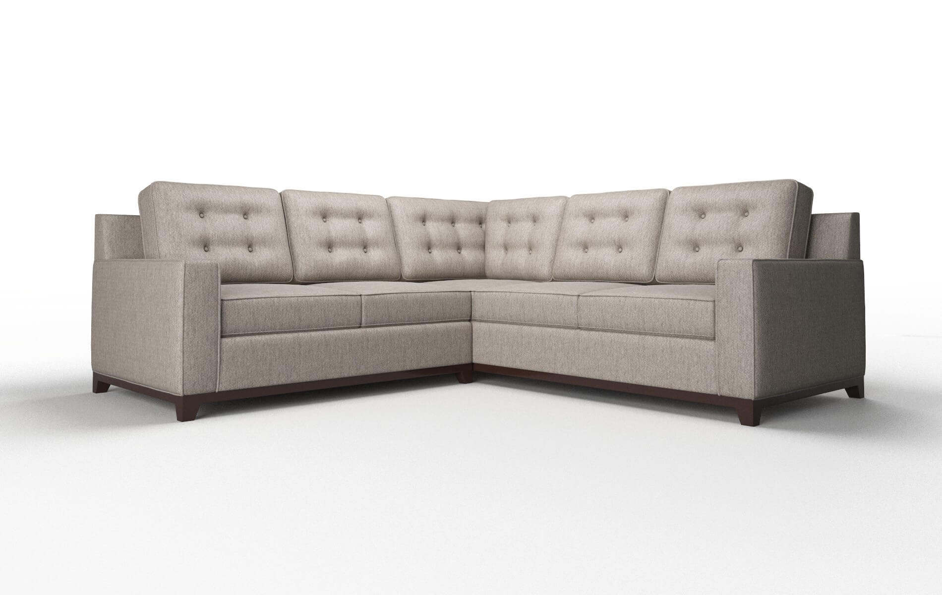 Alexandria Cosmo Taupe Sectional espresso legs 1