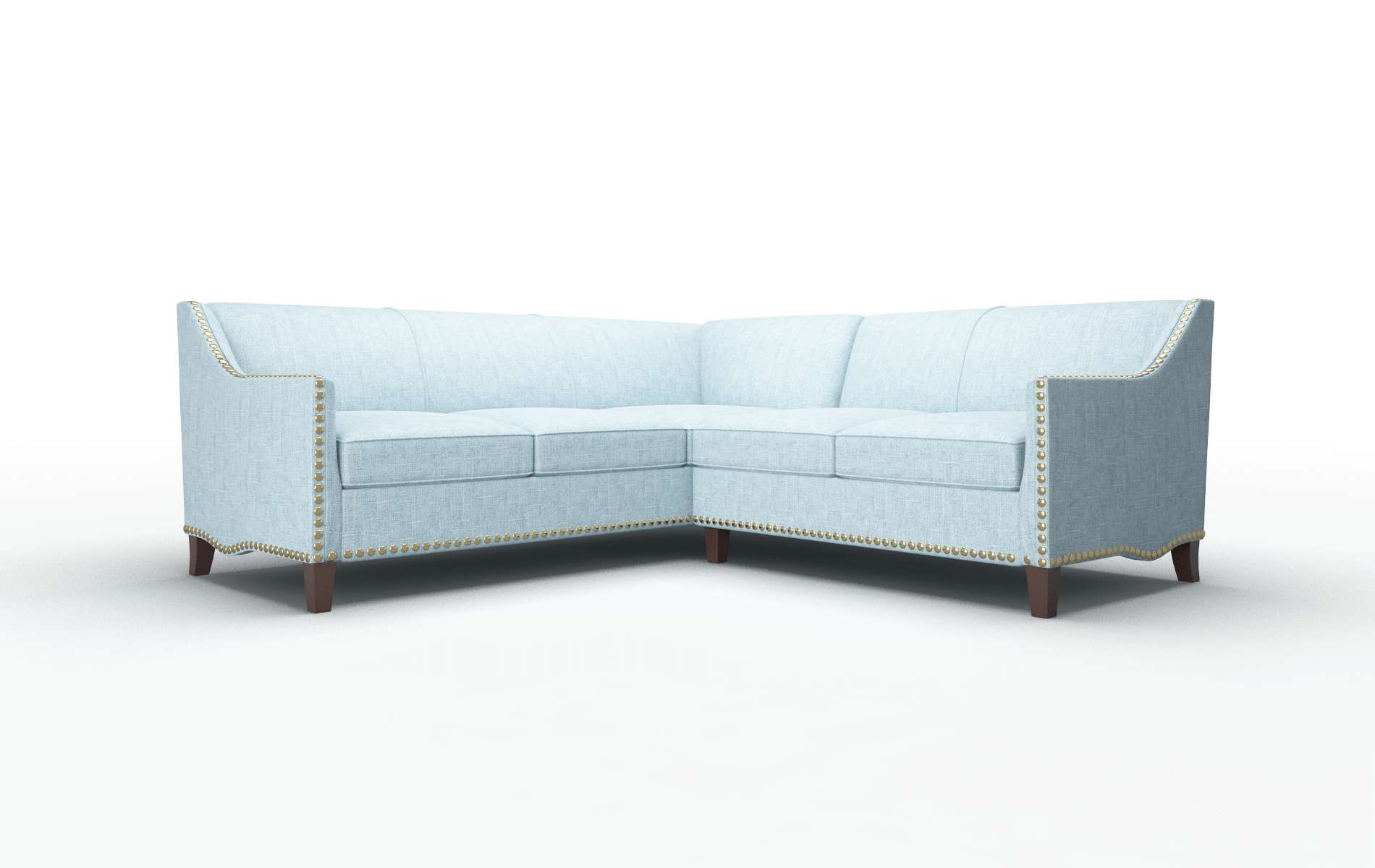 Amsterdam Atlas Turquoise Sectional espresso legs 1