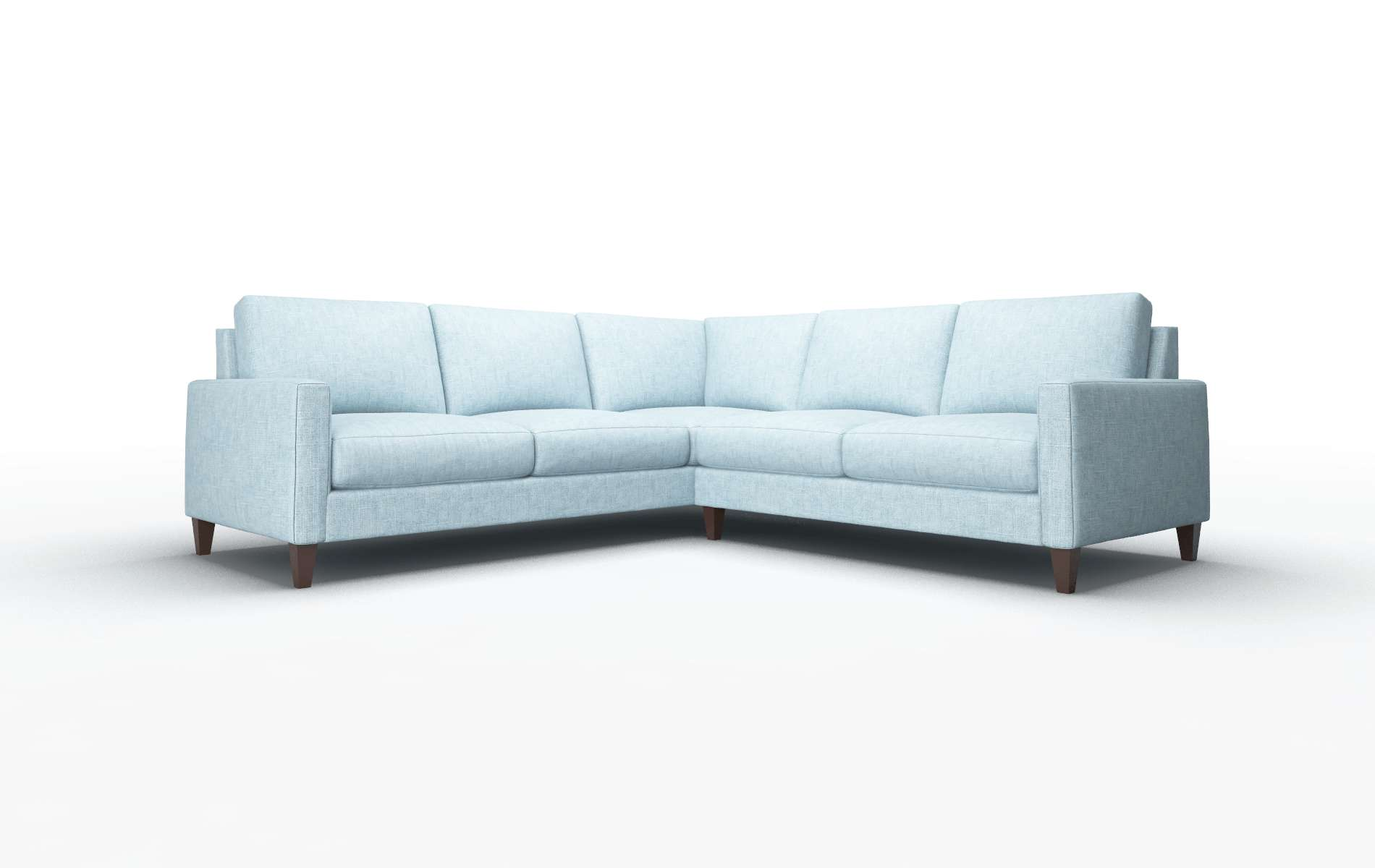 Cannes Atlas Turquoise Sectional espresso legs 1