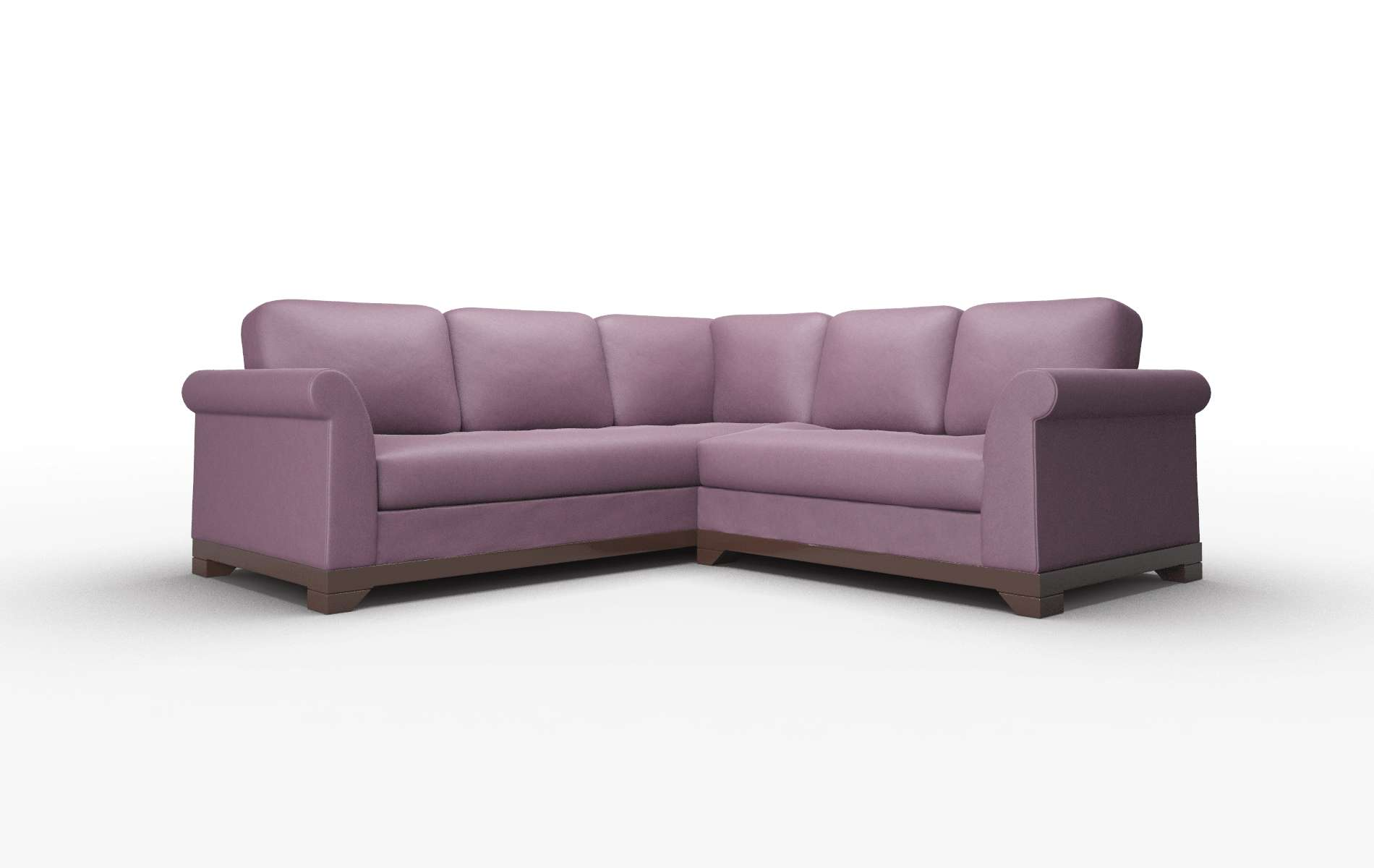 Denver Bella Aubergine Sectional espresso legs