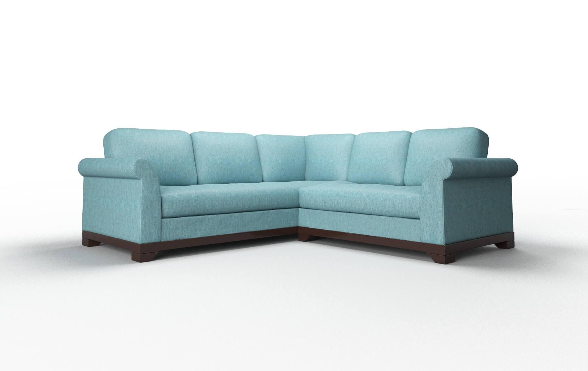 Denver Cosmo Turquoise Sectional espresso legs 1