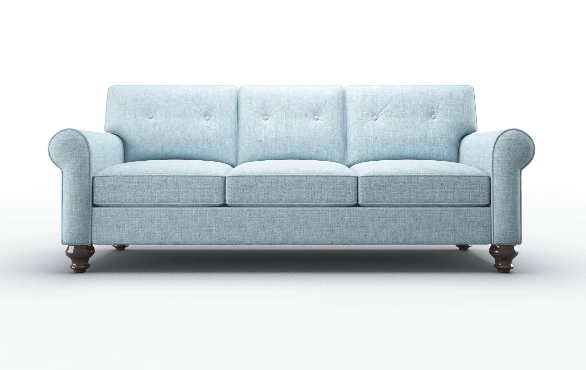 Farah Atlas Turquoise Sofa espresso legs 1