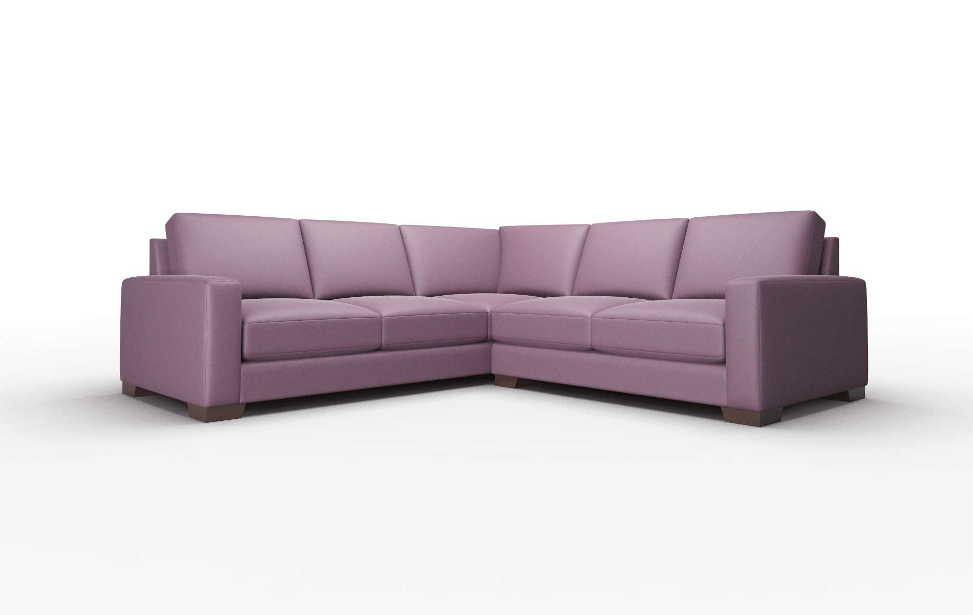 London Bella Aubergine Sectional espresso legs 1