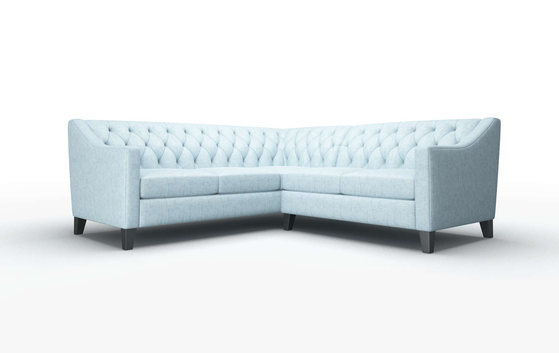Seville Atlas Turquoise Sectional espresso legs 1