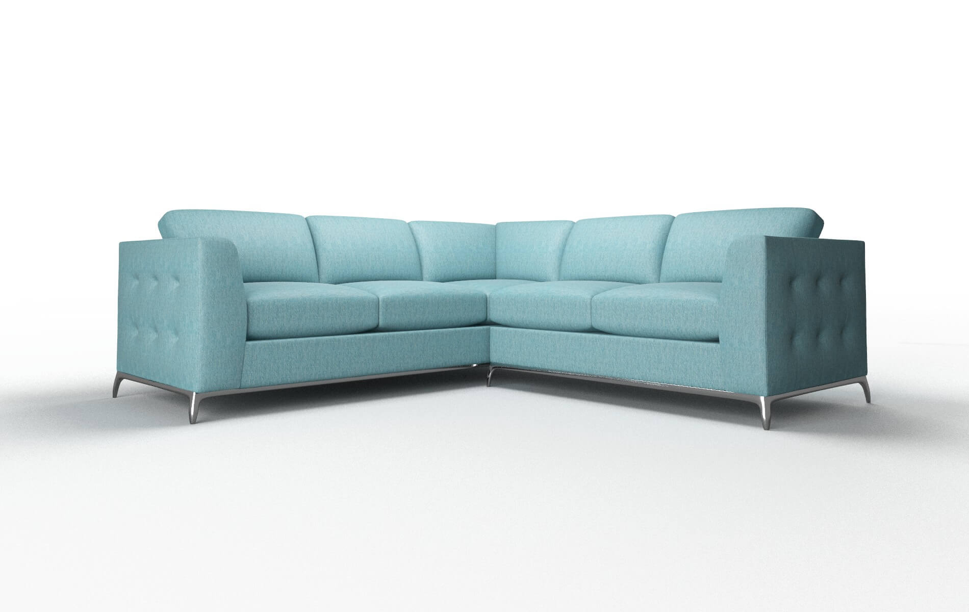 Toronto Cosmo Turquoise Sectional metal legs 1