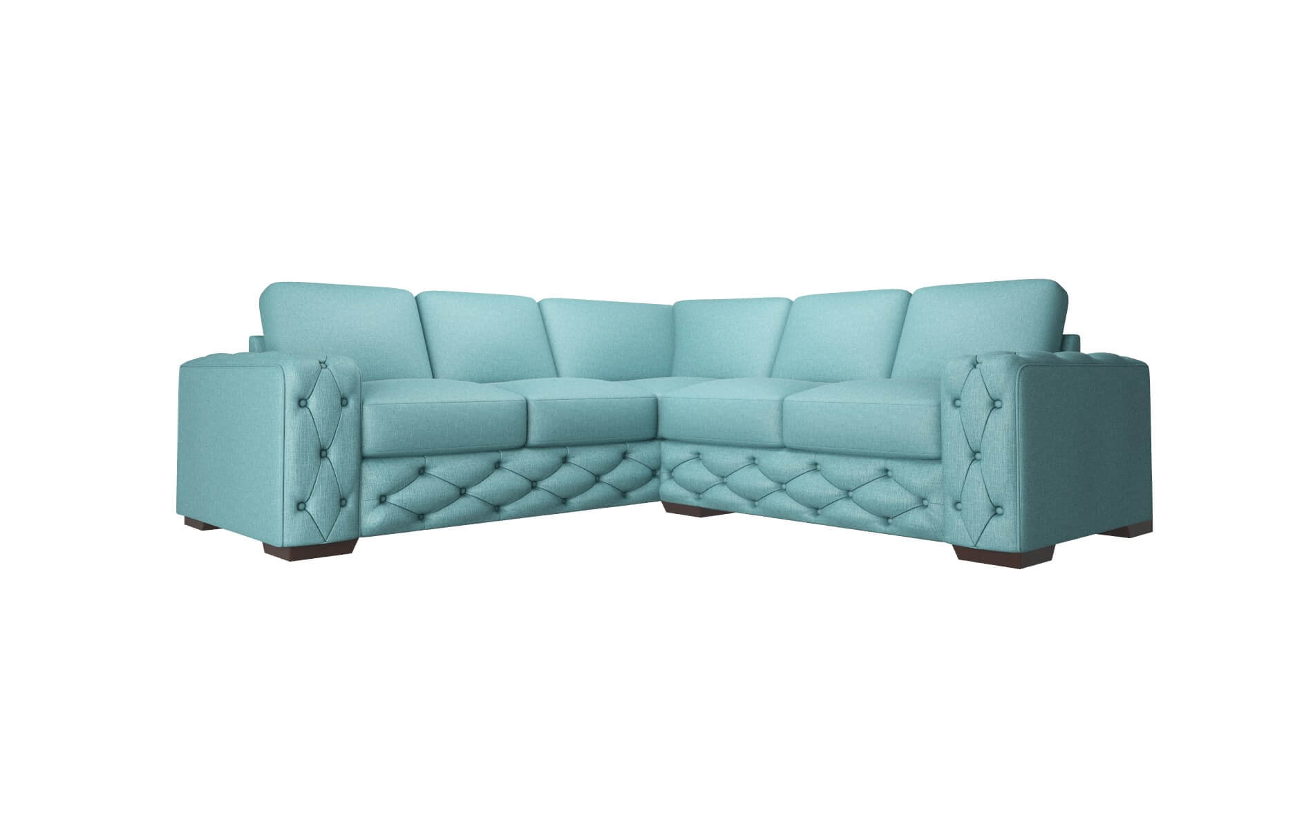 Windsor Parker Turquoise Sectional espresso legs 1